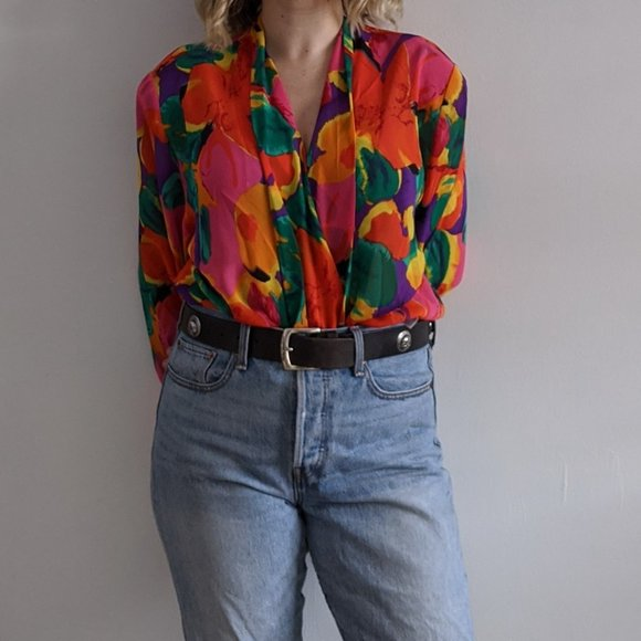 1980's Vibrant Sheer Floral Frilly Wrap Blouse